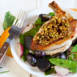 Chicken with Candied Pistachios Snow Pea-Radish Saute