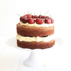 Chocolate Buttermilk Cake with Cherries and Mascarpone Cream Recipe
