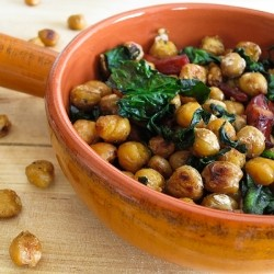 Crispy Chickpeas with Spinach and Sausage