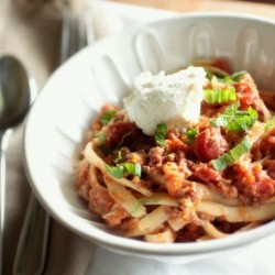 Fettucini with Lamb Ragu and Ricotta