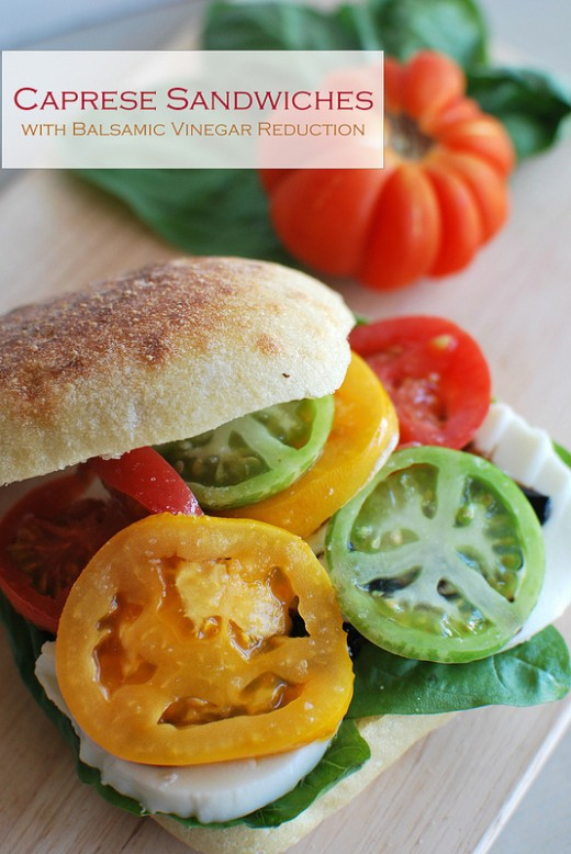 Fresh Caprese Sandwiches with Balsamic Vinegar Reduction Recipe