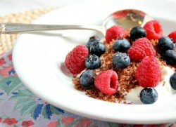 Greek Honey Yogurt topped with Crispy Chocolate Crumbs and Berries