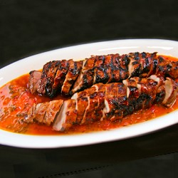 Guava Glazed Pork Tenderloin with Habanero Orange Mojo