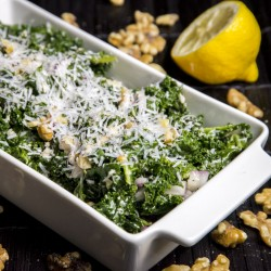 Kale Salad with Red Onions and Walnuts Recipe