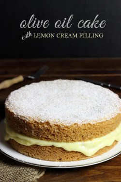 Olive Oil Cake with Lemon Cream Filling Recipe