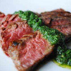 Pan Seared Salt Marinated Flank Steak with Chimichurri