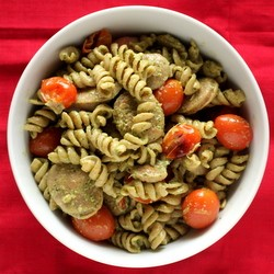 Pesto Rotini Pasta with Chicken Sausage and Tomatoes