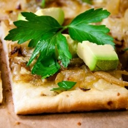 Pizza with Caramelized Onion Gorgonzola Avocado