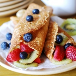 Ricotta Crepes with Berries and Kiwi Recipe