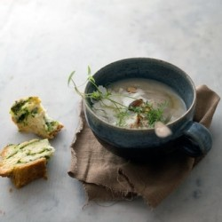 Roasted Cauliflower Potato Soup with Cheese Herb Scones Recipe