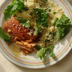 Salmon with Lime Arugula Couscous Recipe