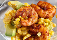 Spicy Shrimp Cocktail with Avocado Corn