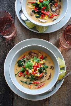 Thai Coconut Corn and Mushroom Soup
