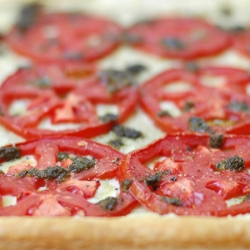 Tomato Tart with Cashew Goat Cheese and Basil Pesto