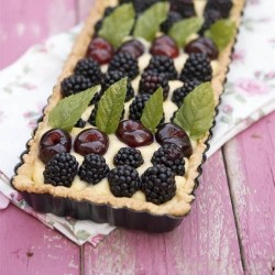 Blackberries Cherries Custard Tarte
