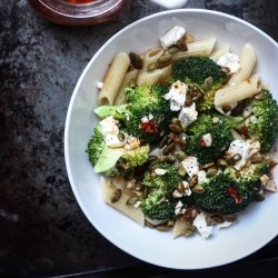 Broccoli and Feta Harissa Salad with Spicy Roasted Pepitas Recipe