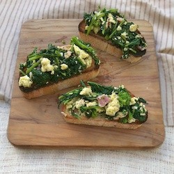 Broccoli Rabe Bacon Egg Bruschetta