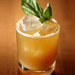 Bufala Negra Cocktail with Bourbon Basil and Ginger Beer