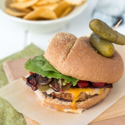 Caramelized Beer Onion and Bacon Burgers