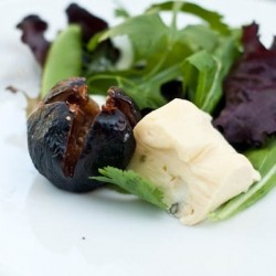 Caramelized Roasted Figs Baby Greens Salad and Honey Vinaigrette