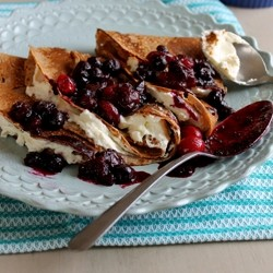 Chestnut Flour Crepes with Blueberry Cranberry Compote