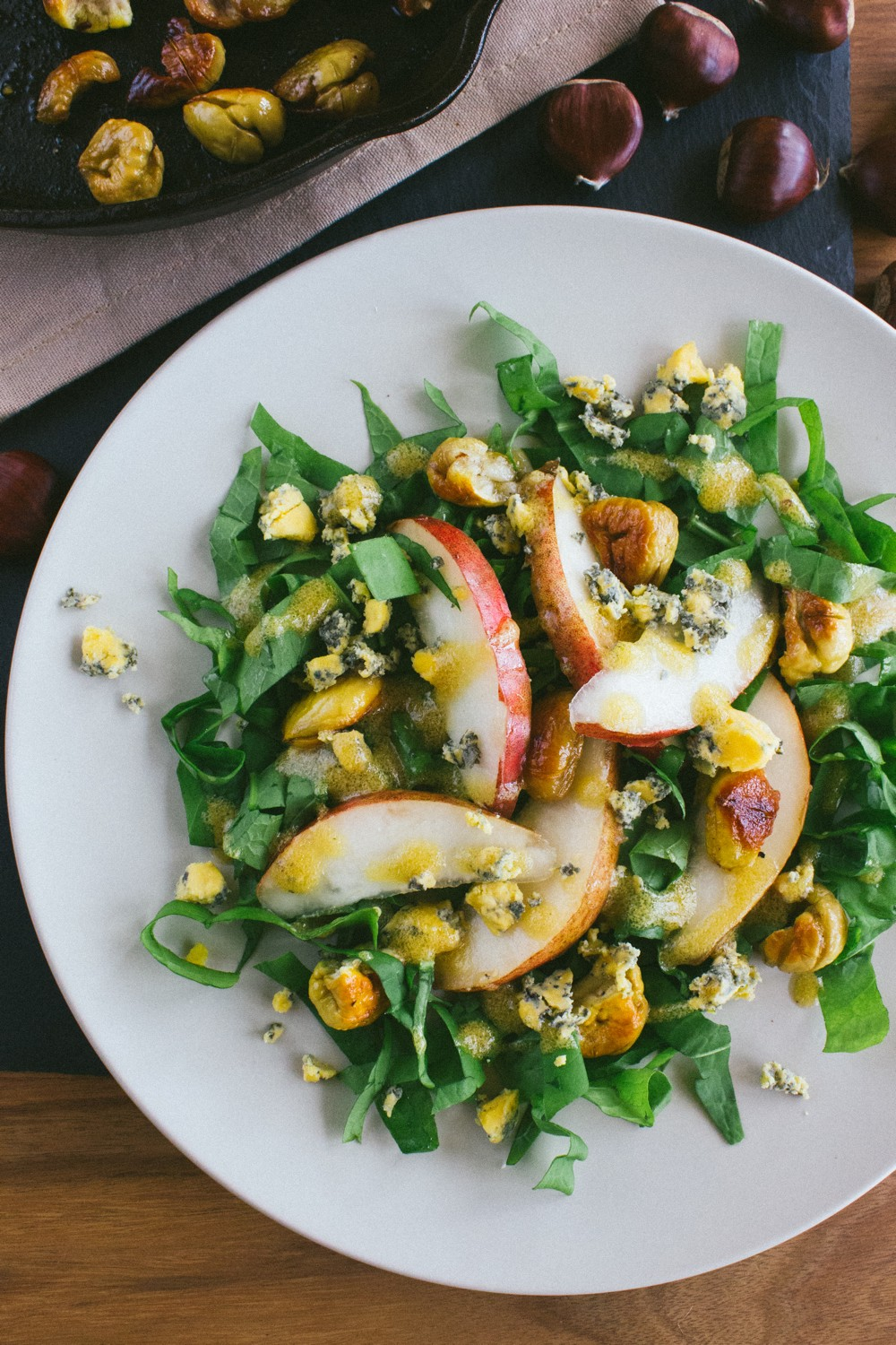 Chestnut Pear Blue Cheese Salad