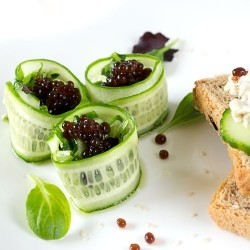 Cucumber Rolls with Balsamic Vinegar Pearl Caviar