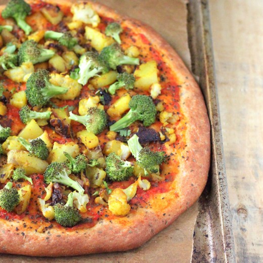Gobi Aloo Broccoli Pizza Recipe