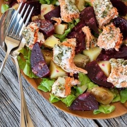 Herbed Salmon Beets Potatoes Salad with Mustard Vinaigrette