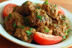 Mexican Meatballs with Roasted Garlic Chipotle Tomatillo Sauce