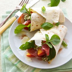 Parma Ham Peach Pecorino Wraps