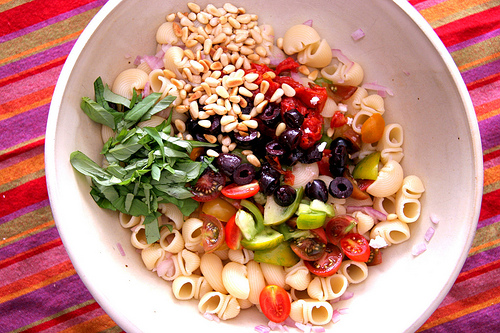 Pasta Snails with Baby Heirloom Tomatoes Basil and Pine Nuts