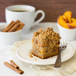 Peach Coffee Cake with Brown Sugar Cinnamon Streusel Filling Recipe