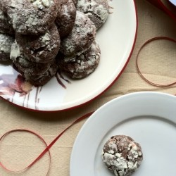 Peppermint Bark Chocolate Crackle Cookies
