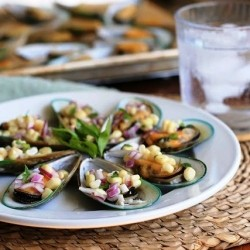 Peruvian Steamed Mussels with Corn Salsa