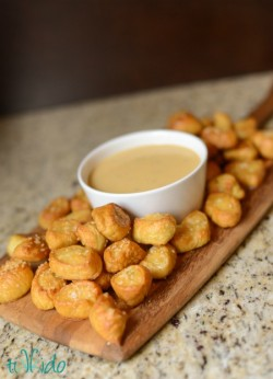 Pretzel Bites with Cheddar Beer Dipping Sauce