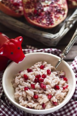 Risotto with pomegranate and gruyere
