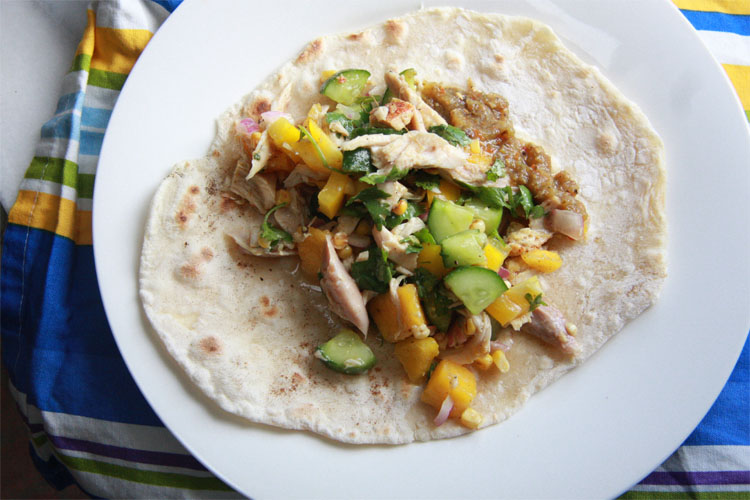 Roasted Corn and Chicken Salad Tortilla Wrap Recipe