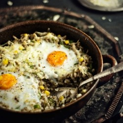 Roasted Groats with Vegetables Cheese and Eggs Recipe