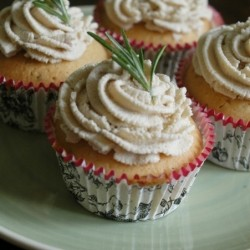 Rosemary and Olive Oil Cupcakes with Chestnut Frosting