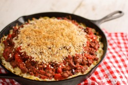 Spaghetti Hotdish with Garlic Bread Crumb Topping Recipe