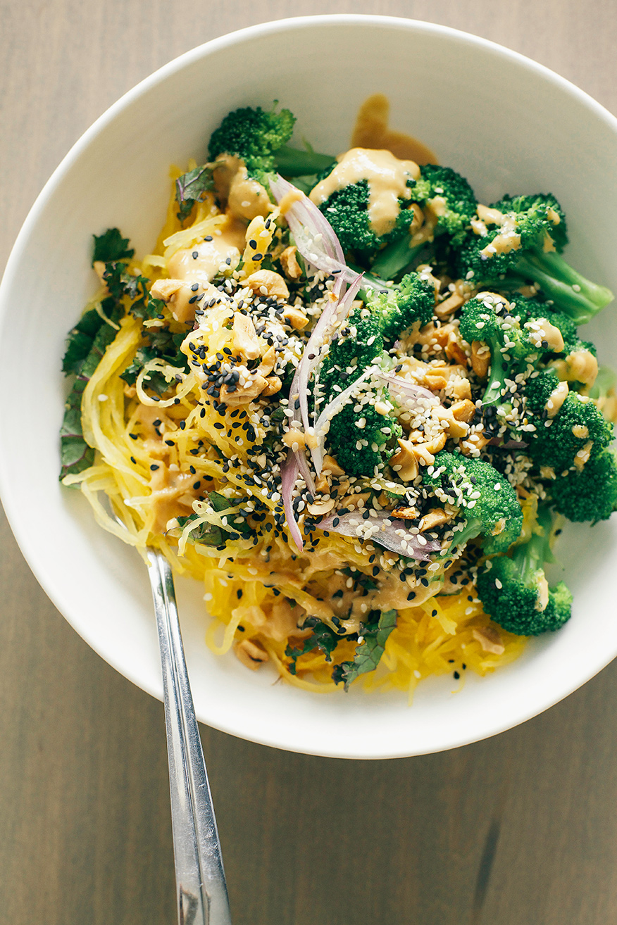 Spaghetti Squash Noodles with Lime Peanut Sauce