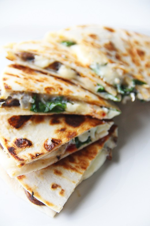 Spinach Sundried Tomato Mushroom Goat Cheese Quesadillas Recipe