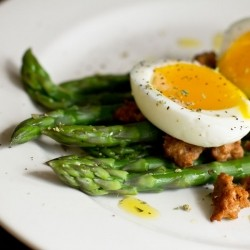 Steamed Asparagus Chorizo Soft Boiled Egg Salad