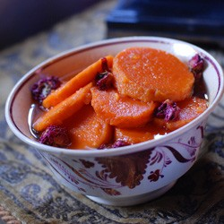 Sweet Potatoes with Rose Ambergris Syrup