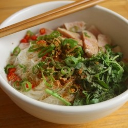 Thai Rice Noodle Soup with Ham Watercress and Garlic Oil Recipe