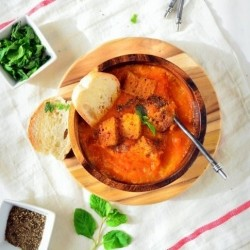 Tomato Carrot Soup with Basil Herbed croutons