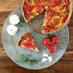 Vegetarian Tomato Spinach Quiche Recipe