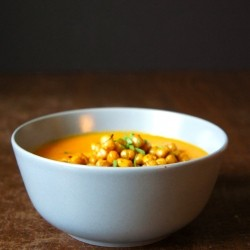 Carrot Soup with Toasted Chickpeas and Creme Fraiche