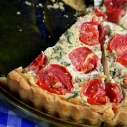 Cherry Tomato and Spinach Tart in Polish